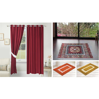Azaani beautiful solid set of two polyster door curtain with one jute sitting mat and two cotton bathmat(AZ2SOLIDCURTAIN1BROWNSITTINGMAT2BATHMAT-562)