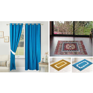 Azaani beautiful solid set of two polyster door curtain with one jute sitting mat and two cotton bathmat(AZ2SOLIDCURTAIN1BROWNSITTINGMAT2BATHMAT-493)