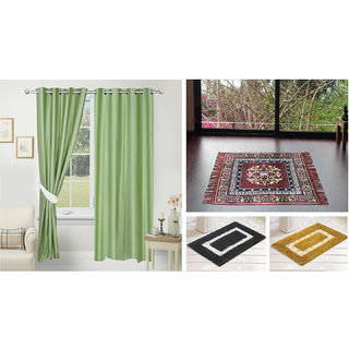 Azaani beautiful solid set of two polyster door curtain with one jute sitting mat and two cotton bathmat(AZ2SOLIDCURTAIN1BROWNSITTINGMAT2BATHMAT-534)