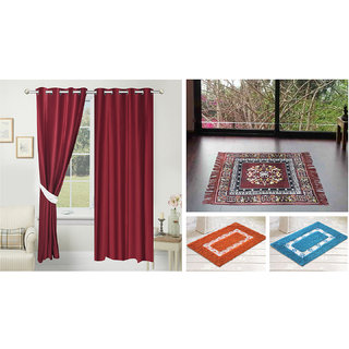 Azaani beautiful solid set of two polyster door curtain with one jute sitting mat and two cotton bathmat(AZ2SOLIDCURTAIN1BROWNSITTINGMAT2BATHMAT-563)