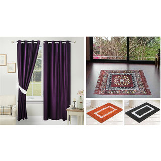 Azaani beautiful solid set of two polyster door curtain with one jute sitting mat and two cotton bathmat(AZ2SOLIDCURTAIN1BROWNSITTINGMAT2BATHMAT-575)