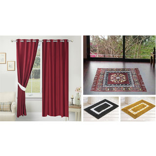 Azaani beautiful solid set of two polyster door curtain with one jute sitting mat and two cotton bathmat(AZ2SOLIDCURTAIN1BROWNSITTINGMAT2BATHMAT-564)