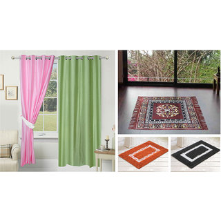Azaani beautiful solid set of two polyster door curtain with one jute sitting mat and two cotton bathmat(AZ2SOLIDCURTAIN1BROWNSITTINGMAT2BATHMAT-695)