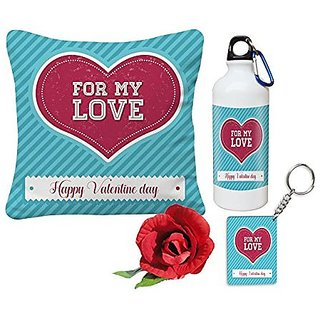 Sky Trends Girls Valentine Gifts Boys Valentine Gifts Lovely best Wife For Valentine Day 12x12 Cushion Cover and Water Sipper Bottle With Rose Keychain Husband Gifts For Her Him Rose day Birthday Gift Set041