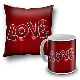 Love Single Soul In Two Bodies Cushion Cover and Coffee Mug Combo