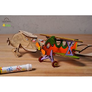 Ugears Biplane 3D Coloring Puzzle