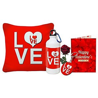 Sky Trends Love Gift Printed Cushion Cover Keychain Greeting Card Sipper Bottle Rose Best Gift For Girlfriend, Boyfriend, Wife, Friend, Husband