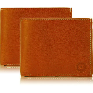 1e8093bd5803 Buy POLLSTAR Men s Tan Leather Wallet with Flip ID (WL51TN) Pack of 2  Online - Get 77% Off