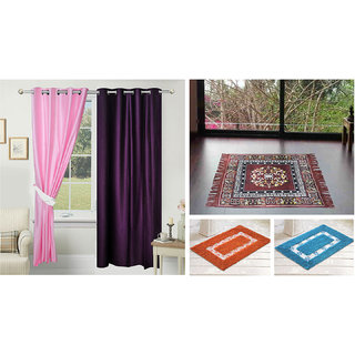 Azaani beautiful solid set of two polyster door curtain with one jute sitting mat and two cotton bathmat(AZ2SOLIDCURTAIN1BROWNSITTINGMAT2BATHMAT-12)