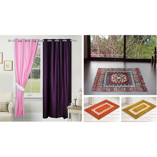 Azaani beautiful solid set of two polyster door curtain with one jute sitting mat and two cotton bathmat(AZ2SOLIDCURTAIN1BROWNSITTINGMAT2BATHMAT-13)