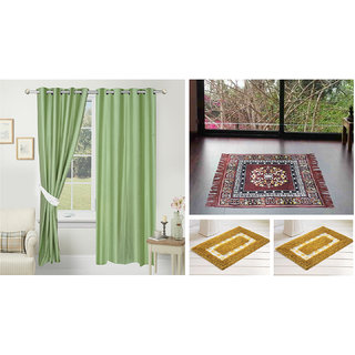 Azaani beautiful solid set of two polyster door curtain with one jute sitting mat and two cotton bathmat(AZ2SOLIDCURTAIN1BROWNSITTINGMAT2BATHMAT-110)
