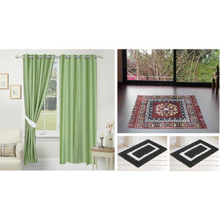 Azaani beautiful solid set of two polyster door curtain with one jute sitting mat and two cotton bathmat(AZ2SOLIDCURTAIN1BROWNSITTINGMAT2BATHMAT-111)