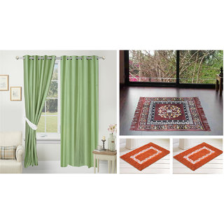 Azaani beautiful solid set of two polyster door curtain with one jute sitting mat and two cotton bathmat(AZ2SOLIDCURTAIN1BROWNSITTINGMAT2BATHMAT-112)