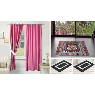 Azaani beautiful solid set of two polyster door curtain with one jute sitting mat and two cotton bathmat(AZ2SOLIDCURTAIN1BROWNSITTINGMAT2BATHMAT-117)
