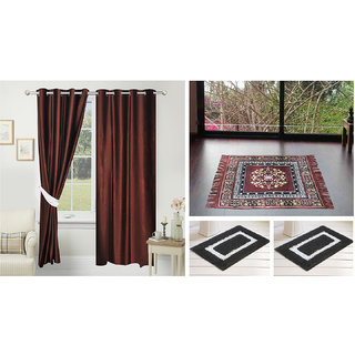 Azaani beautiful solid set of two polyster door curtain with one jute sitting mat and two cotton bathmat(AZ2SOLIDCURTAIN1BROWNSITTINGMAT2BATHMAT-123)