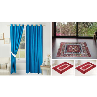 Azaani beautiful solid set of two polyster door curtain with one jute sitting mat and two cotton bathmat(AZ2SOLIDCURTAIN1BROWNSITTINGMAT2BATHMAT-127)