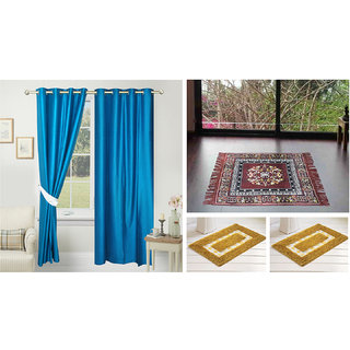 Azaani beautiful solid set of two polyster door curtain with one jute sitting mat and two cotton bathmat(AZ2SOLIDCURTAIN1BROWNSITTINGMAT2BATHMAT-128)