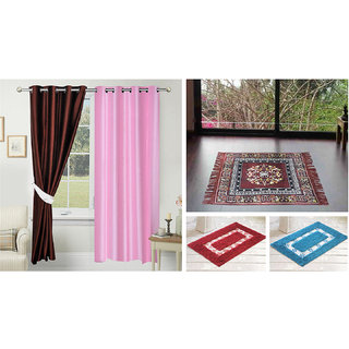 Azaani beautiful solid set of two polyster door curtain with one jute sitting mat and two cotton bathmat(AZ2SOLIDCURTAIN1BROWNSITTINGMAT2BATHMAT-434)