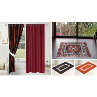 Azaani beautiful solid set of two polyster door curtain with one jute sitting mat and two cotton bathmat(AZ2SOLIDCURTAIN1BROWNSITTINGMAT2BATHMAT-435)