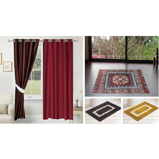 Azaani beautiful solid set of two polyster door curtain with one jute sitting mat and two cotton bathmat(AZ2SOLIDCURTAIN1BROWNSITTINGMAT2BATHMAT-438)