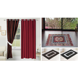 Azaani beautiful solid set of two polyster door curtain with one jute sitting mat and two cotton bathmat(AZ2SOLIDCURTAIN1BROWNSITTINGMAT2BATHMAT-439)