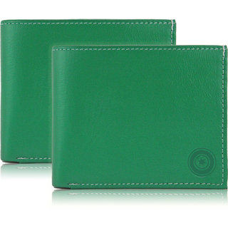 b73170f4cf8e Buy POLLSTAR Men s Green Leather Wallet with Flip ID (WL51GN) Pack ...