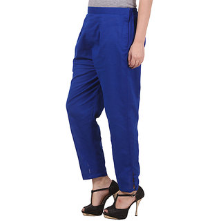 Royal Blue Cotton Pants for Women
