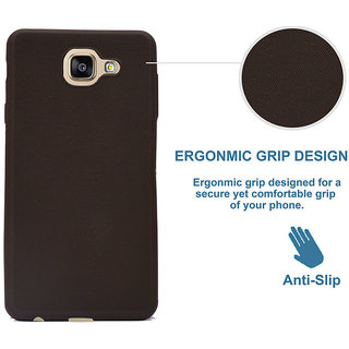 ECS Back Case,Matte Finish [Grip Texture] Shock Absorbing Soft Back Case Cover With Camera Protection For Oppo A57 - Coffee Brown