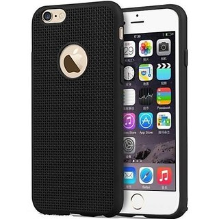 Black Heat Dissipation Hollow Net  Jali Designed Thin Soft TPU Back Case Cover for I PHONE 6 BY MOBIMON