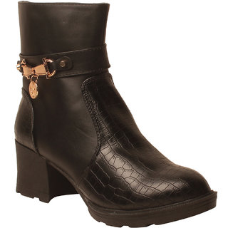 MSC Women Black Synthetic Boots