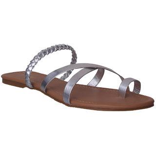 Flora Silver Flat Sandal For Women