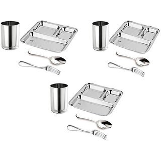 Royal sapphire Stainless Steel 3 in 1 Plate Glasses Spoon Fork Set of 12 Pieces