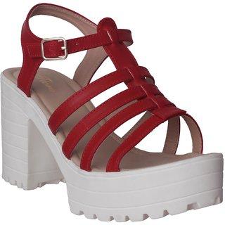Flora Red Block Heel Sandal For Women