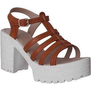 Flora Tan Block Heel Sandal For Women