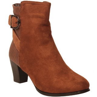 MSC Women Brown Synthetic Boots