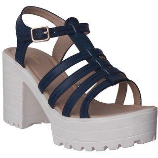 Flora Blue Block Heel Sandal For Women