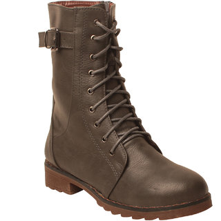 MSC Women Grey Synthetic Boots