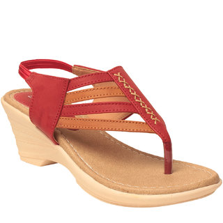 MSC Women Red Synthetic wedges