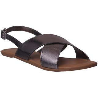 Flora Gun-Metal Flat Sandal For Women
