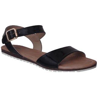 Flora Black Flat Sandal For Women