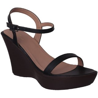 Flora Black Wedges Sandal