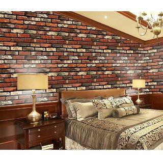 Buy Jaamso Royals Natural Brick Restaurant Room wall paper ...