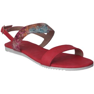 Flora Red Flat Sandal For Women