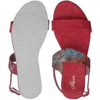 Buy Flora Red Flat Sandal For Women