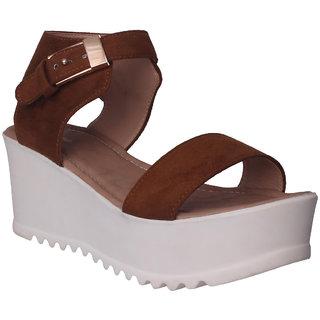 Flora Tan Wedges Sandal