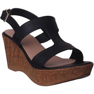 Flora Black Wedges Sandal