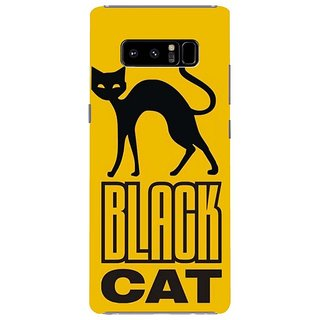 Samsung Galaxy note 8 Black Hard Printed Case Cover by HACHI - Black Cat design