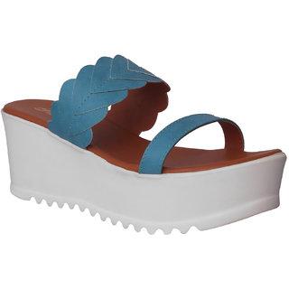 Flora Blue Wedges Sandal