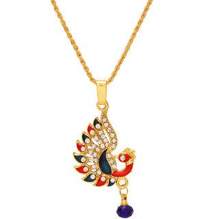 Memoir Brass CZ Meenakari Peacock chain necklace pendant