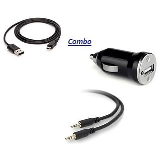love4ride Combo for Aux Cable+Data Cable+Car Charger